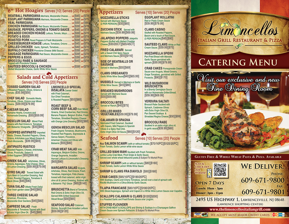 Catering Menu | Best Italian Restaurant In Nj | Limoncellos Restaurant